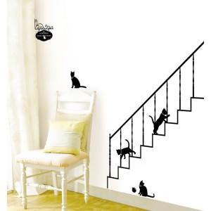 chats dans l'escalier