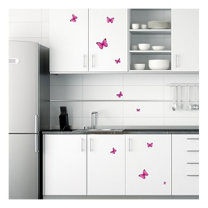 stickers papillon fushia